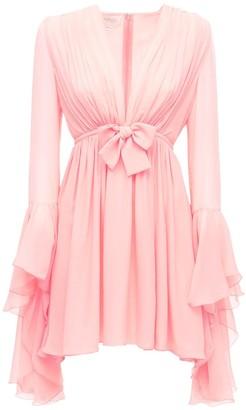 Giambattista Valli Silk Georgette Mini Dress W/ Bow Detail