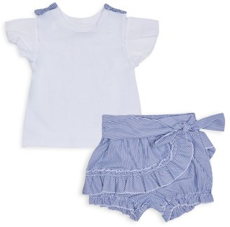 Habitual Little Girl's 2-Piece Knit Top & Ruffle Shorts Set