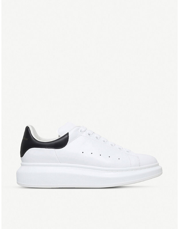 Show leather platform trainers