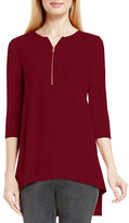 Vince Camuto Three Quarter Sleeve Soft Textured Zip Front Top