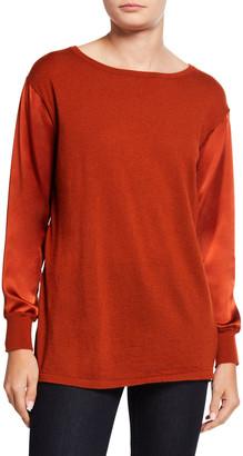 Neiman Marcus Boat-Neck Silk Sleeve & Back Cashmere Sweater