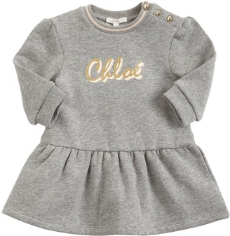Chloé Logo Print Cotton Sweat Dress