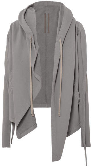 Rick Owens Hooded Draped Cotton-jersey Jacket - Light gray