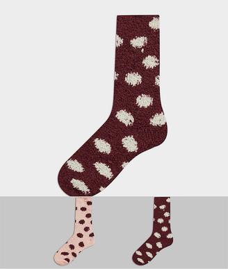 Hunkemoller 2-pack cosy spot printed socks in red
