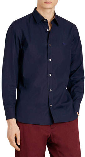 Burberry Men's William Long-Sleeve Woven Shirt with Check Detail