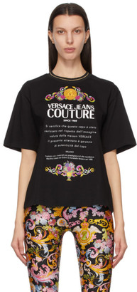 Versace Jeans Couture Black and Multicolor Etichetta T-Shirt
