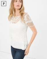 White House Black Market Petite Layered Lace Top