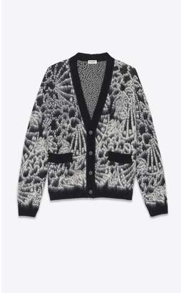Saint Laurent Knitted Cardigan In Brushed Floral Wool And Mohair Jacquard