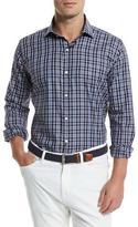 Peter Millar Newport Plaid Long-Sleeve Sport Shirt, Blue Plaid