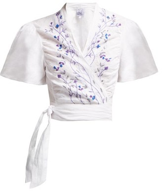 Thierry Colson Tamara Embroidered Wrap Linen Crop Top - White Navy
