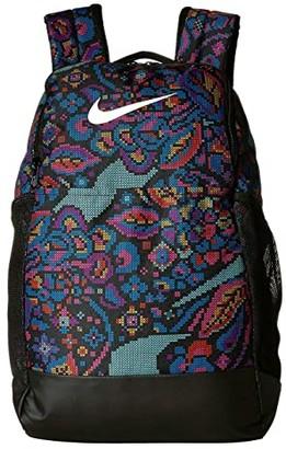 Nike Brasilia All Over Print 3 Medium Backpack 9.0 (Black/Hyper Pink/White) Backpack Bags