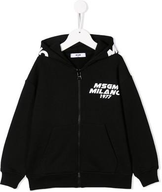 MSGM Kids logo print zipped hoodie