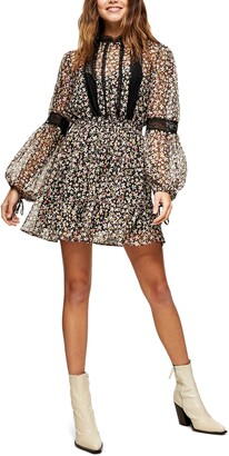 Topshop Floral Lace Trim Long Sleeve Dress