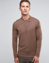 Selected Merino Long Sleeve Knitted Polo