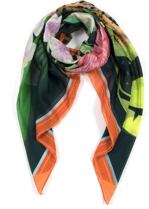 Misheo Night In The Jungle Large Cotton Silk Scarf - Square