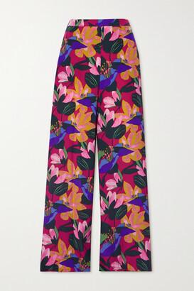 Diane von Furstenberg - Pauline Floral-print Silk Crepe De Chine Wide-leg Pants - Pink