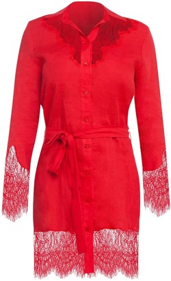 Cliché Reborn Linen Shirt Dress With Lace Trim In Red