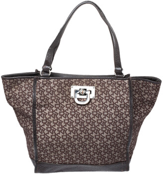 DKNY Brown Monogram Canvas and Leather Tote