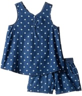 Splendid Littles Printed Denim Cross Back Tank Set Girl's Active Sets