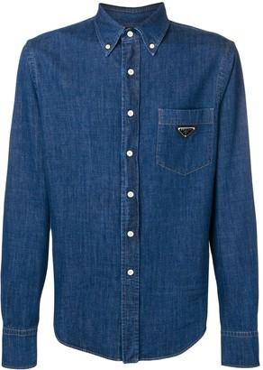 Prada long sleeved button up denim shirt