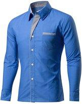 BSNQA Mens Slim Fit Cotton Flannel Tailored Dress Shirt (M, )