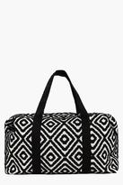 Boohoo Rose Mono Aztec Oversized Weekend Bag