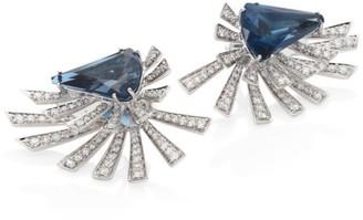 Hueb Mirage Burst Diamond, Blue Topaz & 18K White Gold Front-Back Earrings