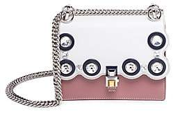 Fendi Women's Kan I Small Crystal-Studded Two-Tone Leather Chain Bag