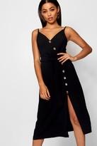 boohoo Button Front Woven Cami Dress
