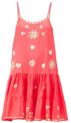 Juliet Dunn Mirror-embroidered Ruffled-hem Silk Mini Dress - Pink