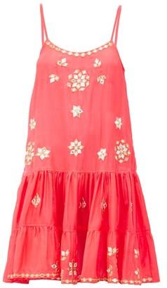 Juliet Dunn Mirror-embroidered Ruffled-hem Silk Mini Dress - Pink