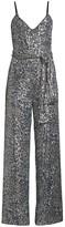 Black Halo Bracy Leopard Print Sequin Jumpsuit