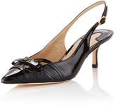 Joan and David Gianne Patent Low-Heel Slingback, Black