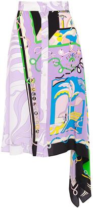 Emilio Pucci Asymmetric Draped Printed Silk Crepe De Chine Skirt