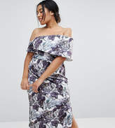 Asos Marble Print One Shoulder Clean Scuba Midi Dress