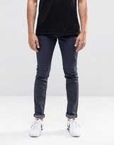 Solid Blue Black Skinny Fit Jeans With Stretch