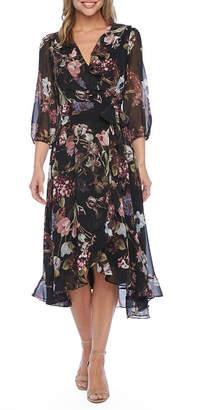 Danny & Nicole 3/4 Sleeve Floral Midi Fit & Flare Dress