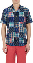 Faherty MEN'S PATCHWORK SHORT-SLEEVE SHIRT-BLUE SIZE S