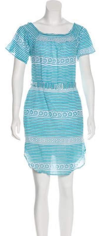 Banjanan Striped Knee-Length Dress Teal Striped Knee-Length Dress