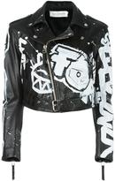 Faith Connexion hand-painted graffiti biker jacket
