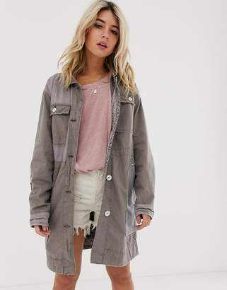 Free People contrast utility jacket-Beige
