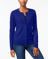 Karen Scott Textured Polka-Dot-Print Cardigan, Created for Macy's