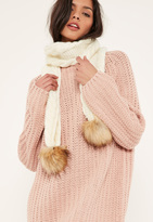 Missguided Cream Faux Fur Pom Pom Cable Knit Scarf