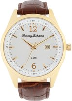 Tommy Bahama Siesta Key Analog & Date Crocodile-Embossed Leather-Strap Watch