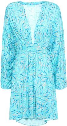 Melissa Odabash Elle Pleated Printed Stretch-jersey Mini Dress