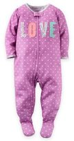 Carter's Zip-Front Love Dot Footed Pajama in Purple