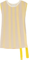Ribbon-embellished silk-chiffon top