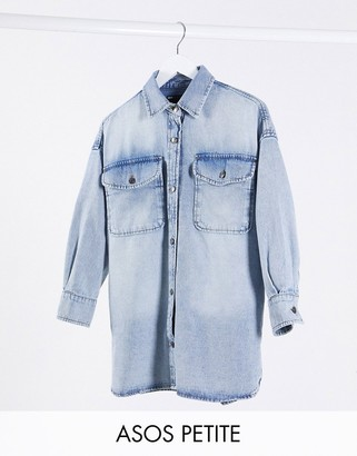 ASOS DESIGN Petite denim oversized belted shirt in lightwash blue