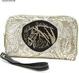 Show Me Country Western Embroidered Horse Head Crystal Wristlet Wallets