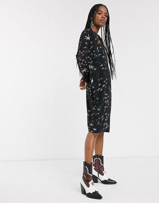 Religion elation tunic dress in mystical foil print-Black